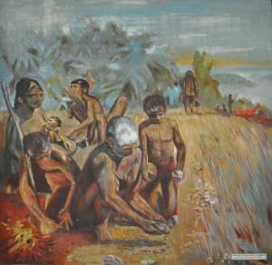 Vroege mensen die gereedschappen maken en vuur gebruiken - Museum of Vietnamese History.