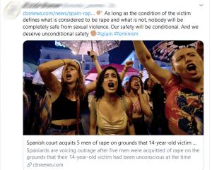 """Zolang de toestand van het slachtoffer bepaalt wat als verkrachting gezien wordt en wat niet, zal niemand volledig veilig zijn van seksueel geweld. Onze veiligheid zal conditioneel zijn. En we verdienen onconditionele veiligheid."""""""