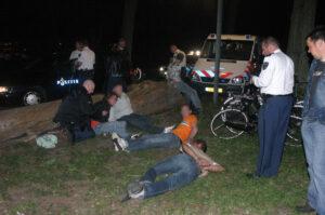 Aanhouding tijdens de rellen in Pijnacker